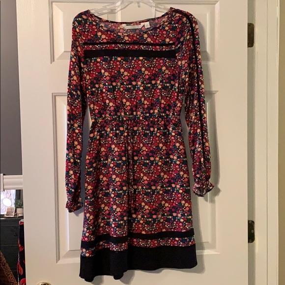 22638338aa0a LC Lauren Conrad Dresses | Lauren Conrad Red Lint Sleeved Floral ...